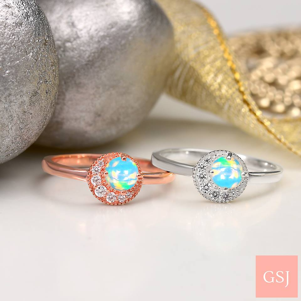real opal rings in silver and rose gold