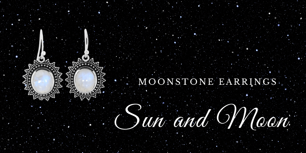 Moonstone Earrings - Sun and Moon