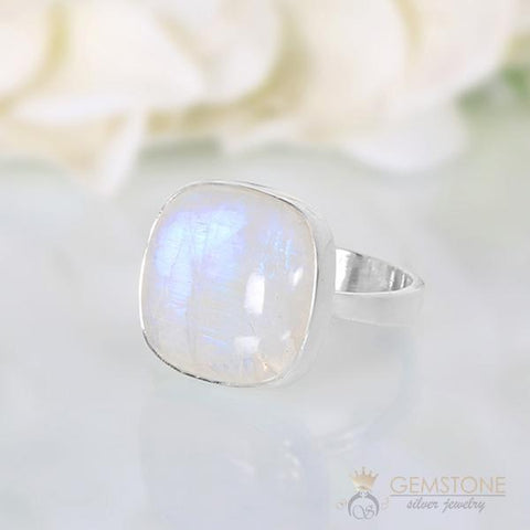 big silver ring with moonstone