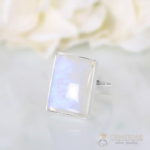 square moonstone silver ring