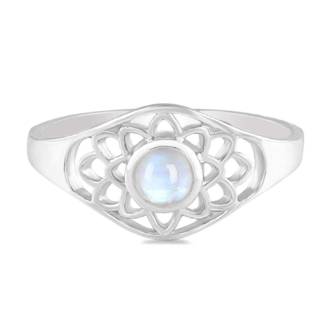 Moonstone Ring-Buddha'S Blessing Moonstone Ring 925 SILVER & MOONSTONE 5 Round Cab-4 mm WHITE