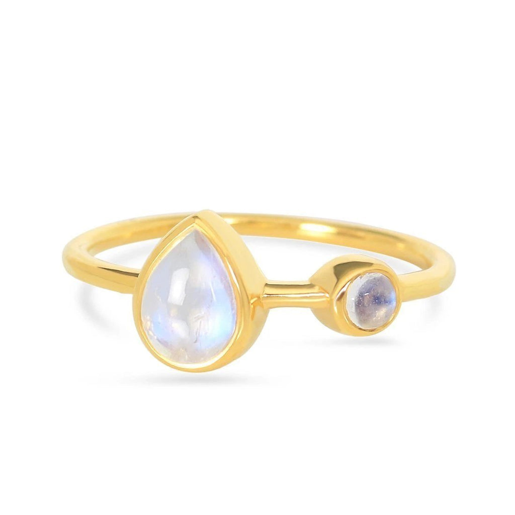 Moonstone Gold Ring - Sea Spectre