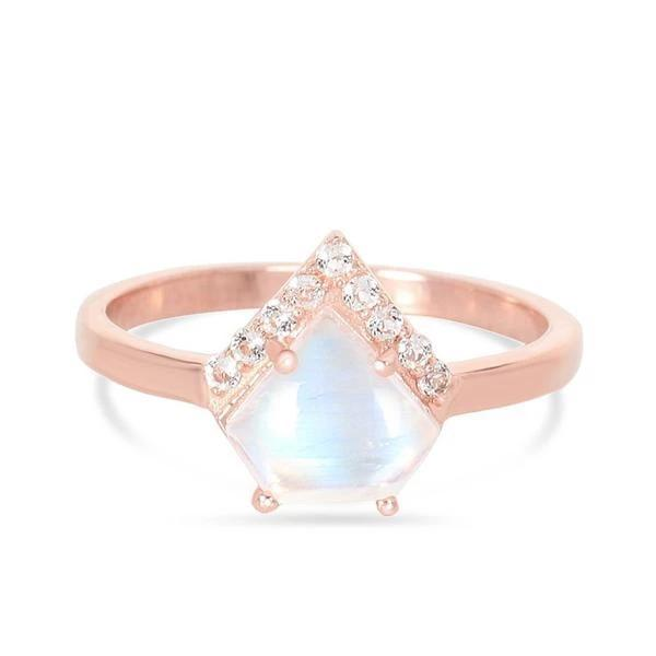 14k Rose Gold Vermeil Moonstone Ring - Uplift Moonstone Ring 14K ROSE GOLD & MOONSTONE 5 ROSE Gold Fancy-8x9 mm and Round-1.5 mm