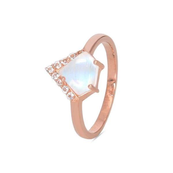 14k Rose Gold Vermeil Moonstone Ring - Uplift Moonstone Ring 14K ROSE GOLD & MOONSTONE
