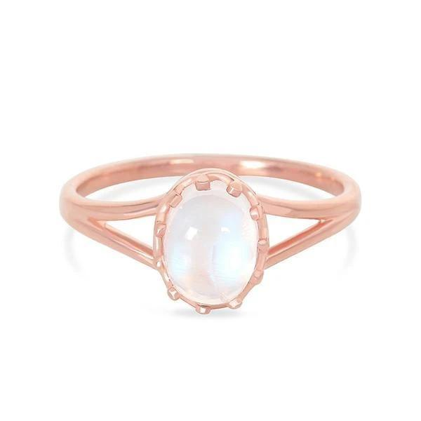 14k Rose Gold Ring With Moonstone