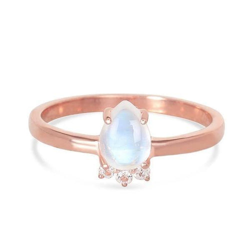 14k Rose Gold Vermeil Moonstone Ring - Vivacity Moonstone Ring 14K ROSE GOLD & MOONSTONE 5 ROSE Gold Pear-7x5 and Round-1.6 mm