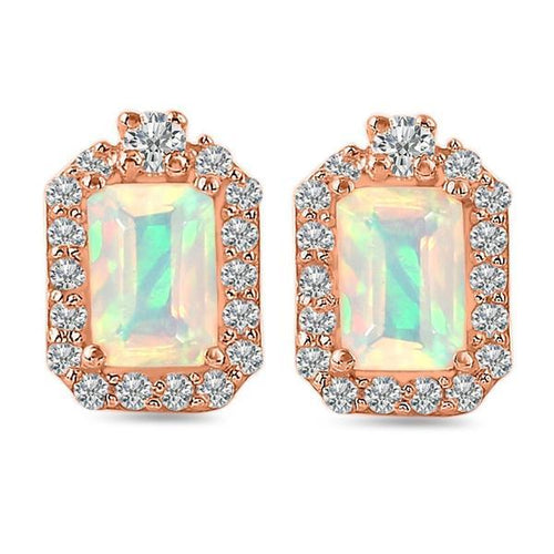 14K Rose Gold Earrings With Opal Stone