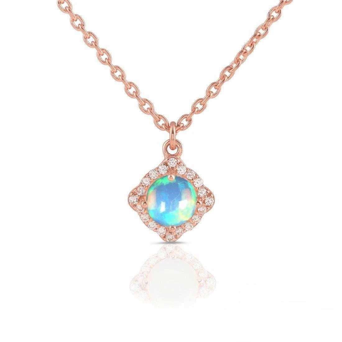14K Rose Gold Necklace With Opal Stone