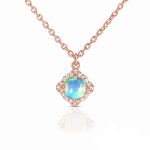14k Rose Gold Vermeil Opal Necklace-Life Rose Gold Opal Necklace 14KT ROSE GOLD & GENUINE OPAL