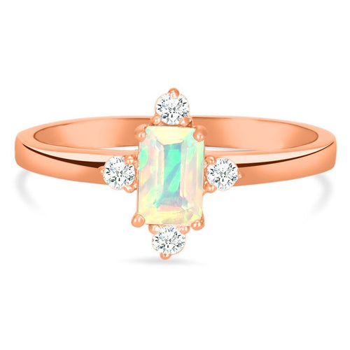14k Rose Gold Vermeil Opal Ring-Blessed Rose Gold Opal Ring 14KT ROSE GOLD & GENUINE OPAL
