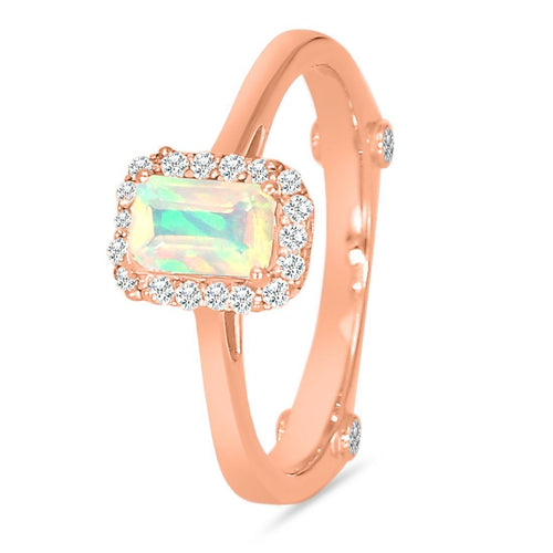 14k Rose Gold Vermeil Opal Ring-Enchanted Rose Gold Opal Ring 14KT ROSE GOLD & GENUINE OPAL