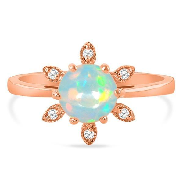 14k Rose Gold Vermeil Opal Ring-Floralia Opal Ring 925 SILVER & GENUINE OPAL 5 Round-7 mm Rose Gold
