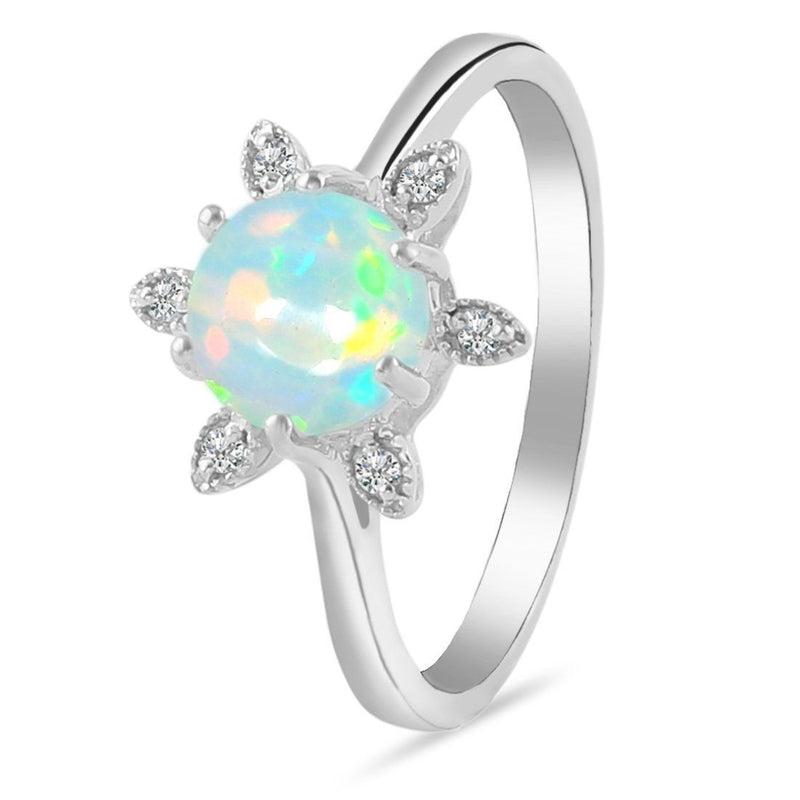 Sterling Silver Ring With Opal Stone