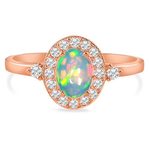 14k Rose Gold Vermeil Opal Ring-Gentleness Rose Gold Opal Ring 14KT ROSE GOLD & GENUINE OPAL 5 Oval-7x5 mm Rose Gold