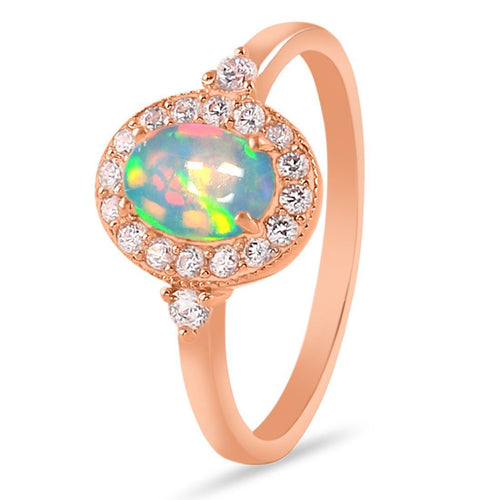 14k Rose Gold Vermeil Opal Ring-Gentleness Rose Gold Opal Ring 14KT ROSE GOLD & GENUINE OPAL