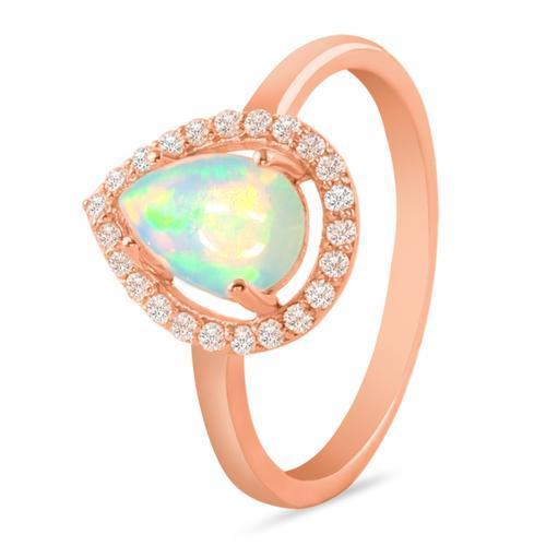 14k Rose Gold Vermeil Opal Ring-Grace Rose Gold Opal Ring 14KT ROSE GOLD & GENUINE OPAL