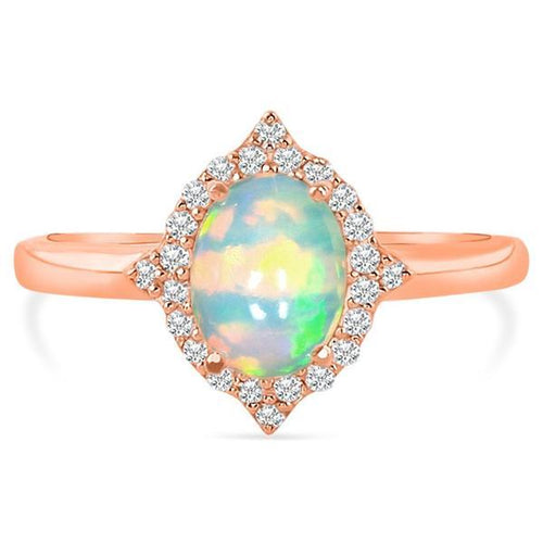 14k Rose Gold Vermeil Opal Ring-Serenity Opal Ring 925 SILVER & GENUINE OPAL 5 Oval-6x8 mm Rose Gold