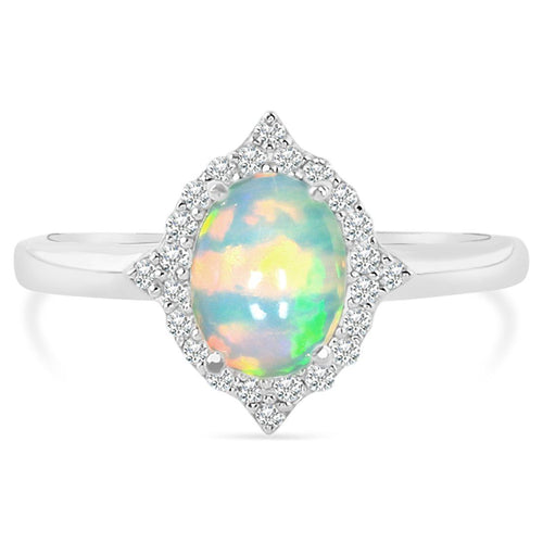 925 STERLING SILVER Opal Ring-Serenity Silver Opal Ring 925 SILVER & GENUINE OPAL