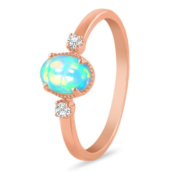 14K Rose Gold Ring With Opal Stone