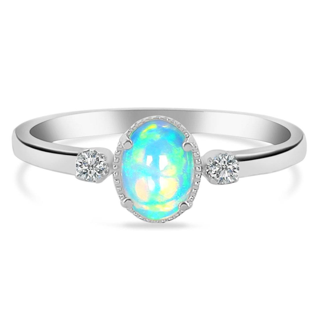 925 STERLING SILVER Opal Ring-Spirit Silver Opal Ring 925 SILVER & GENUINE OPAL 5 Oval-7x5 mm Round-2 mm Silver