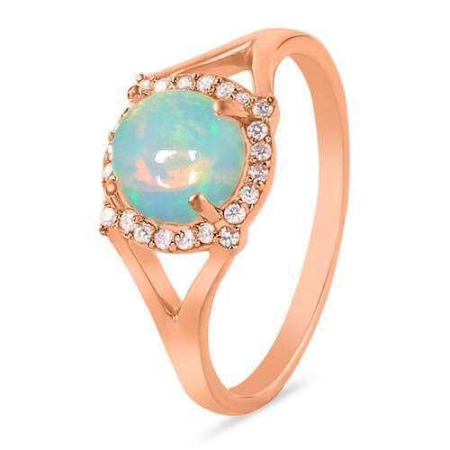 14k Rose Gold Vermeil Opal Ring-Vibrance Rose Gold Opal Ring 14KT ROSE GOLD & GENUINE OPAL
