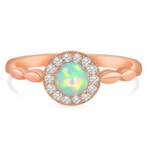 14k Rose Gold Vermeil Opal Ring-Zelda Rose Gold Opal Ring 14KT ROSE GOLD & GENUINE OPAL