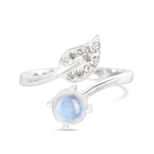 Moonstone Ring-Harmony-S Moonstone Ring 925 SILVER & MOONSTONE 10 Silver Round-4 mm and 1.5 mm