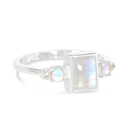 Moonstone Ring-Royalty-S Moonstone Ring 925 SILVER & MOONSTONE 10 Silver Octagon-5x7 and Round-3 mm