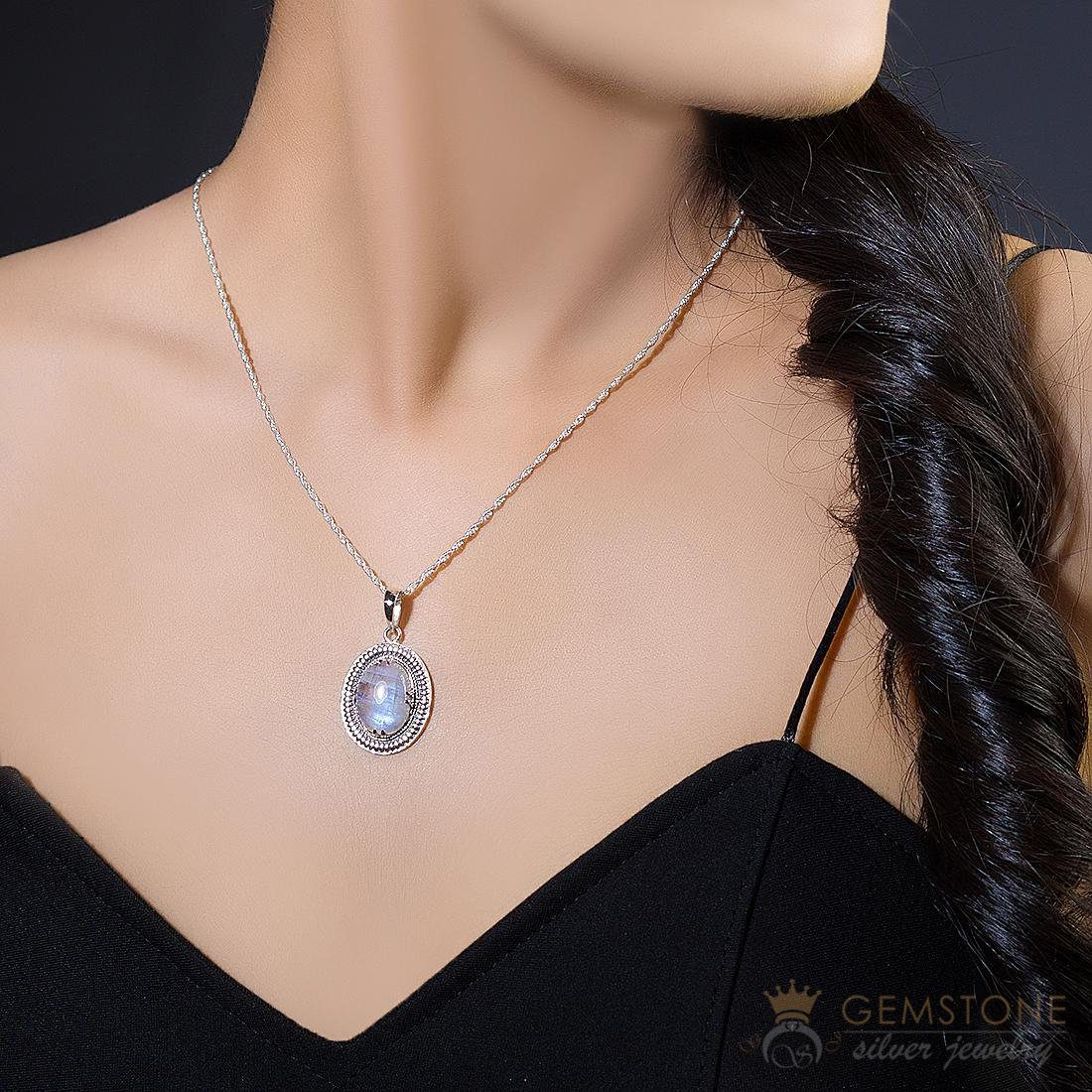 Moonstone Pendant-Scented Ambition - Gemstone Silver Jewelry