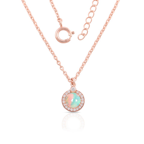 14k Rose Gold Vermeil Opal Necklace-Vibrance