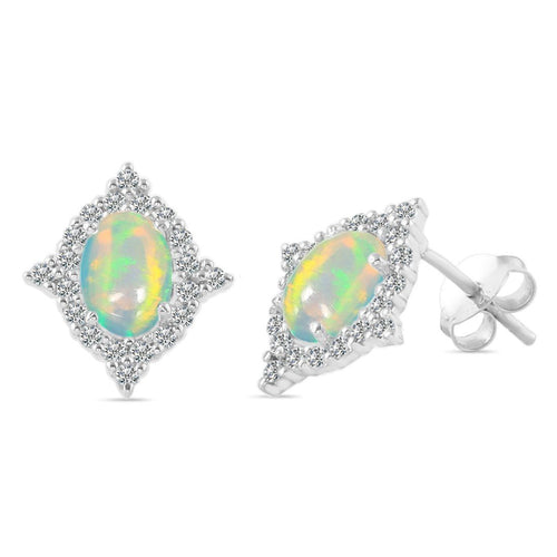 925 STERLING SILVER Opal Earring-Difference Opal Earring 925 SILVER & GENUINE OPAL