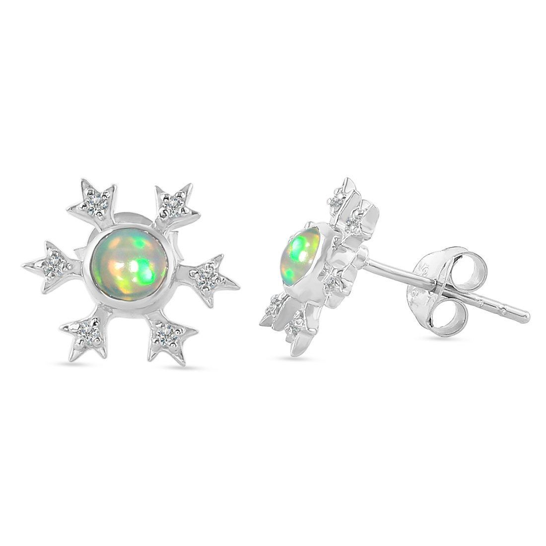 Sterling Silver Earrings With Opal Stone