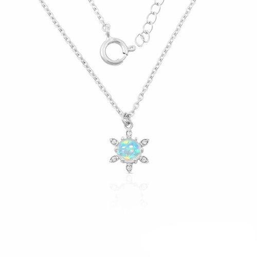 925 STERLING SILVER Opal Necklace-Floralia Opal Necklace 925 SILVER & GENUINE OPAL
