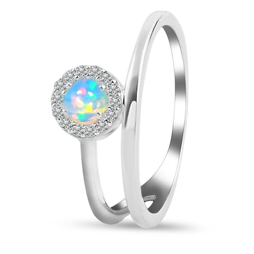 925 STERLING SILVER Opal Ring-Insight Silver Opal Ring 925 SILVER & GENUINE OPAL 5 Round-4 mm Silver