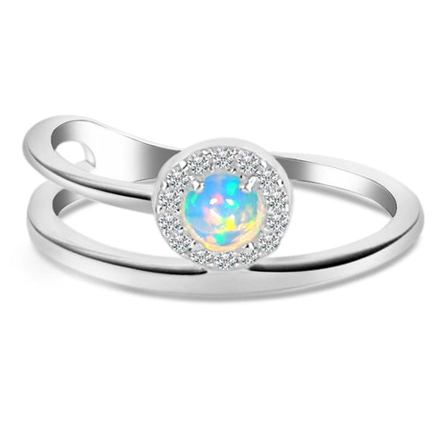 925 STERLING SILVER Opal Ring-Insight Silver Opal Ring 925 SILVER & GENUINE OPAL