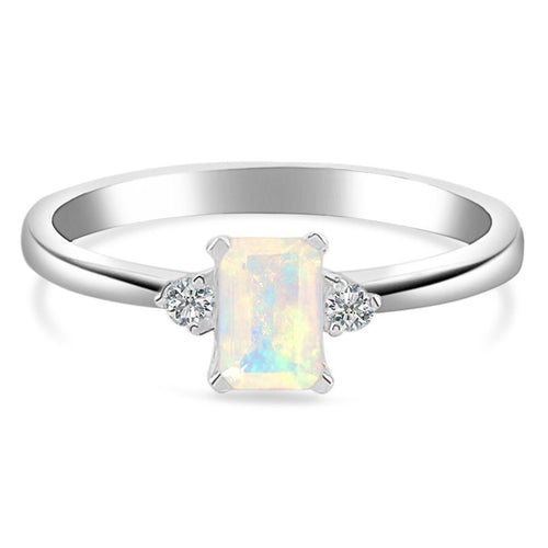 925 STERLING SILVER Opal Ring-Lure Silver Opal Ring 925 SILVER & GENUINE OPAL 5 Octagon-4x6 mm Silver
