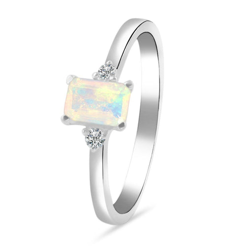 925 STERLING SILVER Opal Ring-Lure Silver Opal Ring 925 SILVER & GENUINE OPAL