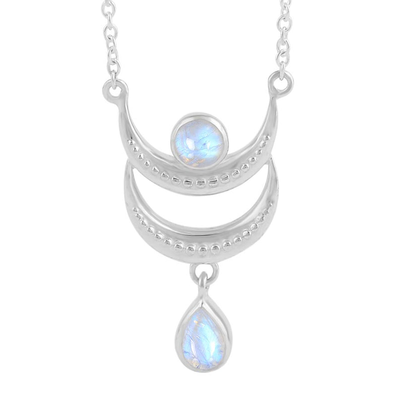 Moonstone Necklace-Gibbous Moon