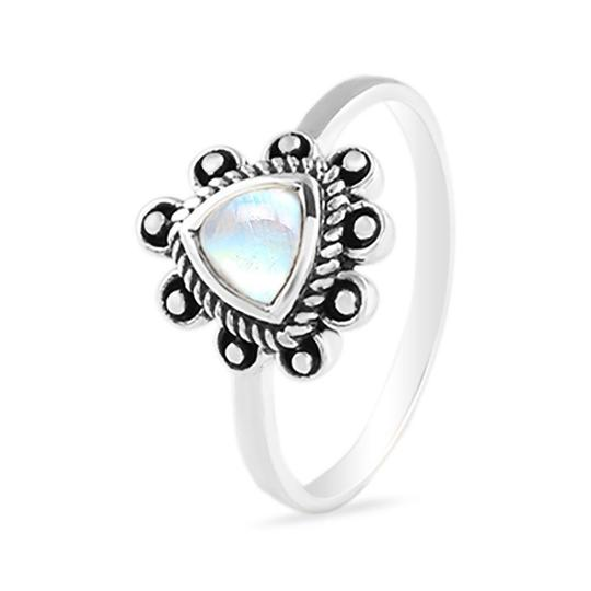 Bohemian Sterling Silver Moonstone Ring Treble