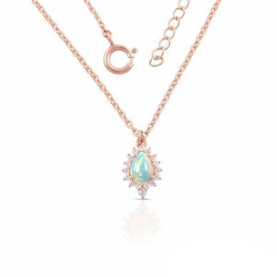 Genuine 14K Rose Gold Opal Stone Necklaces For Women