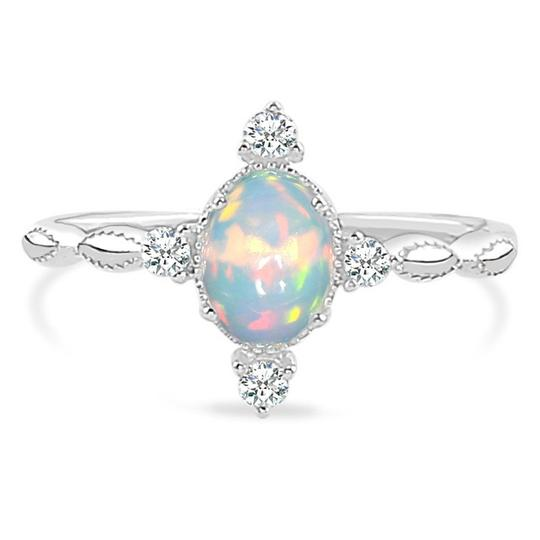 Genuine 925 Sterling Silver Opal Ring Brilliance