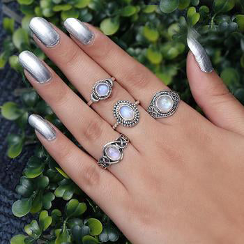 Moonstone Ring-Flaming Light