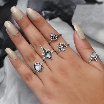 Moonstone Ring-Crescent Droplet