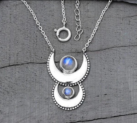 Moonstone Necklace-Cycle Of Luna - Gemstone Silver Jewelry