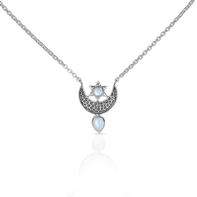 Moonstone Necklace-To The Moon & Back Moonstone Necklace 925 SILVER & MOONSTONE