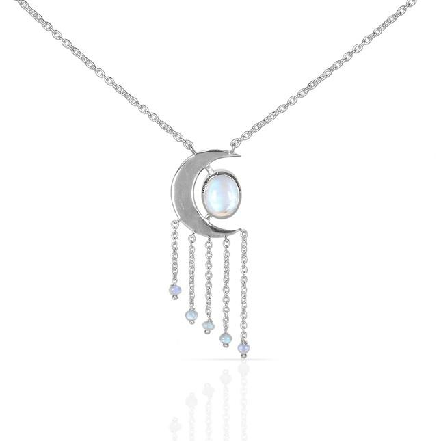 Moonstone Necklace-Magic Moon Moonstone Necklace 925 SILVER & MOONSTONE