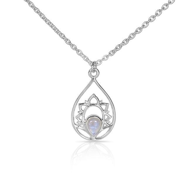 Moonstone Necklace-Splendid Cassiopeia Moonstone Necklace 925 SILVER & MOONSTONE