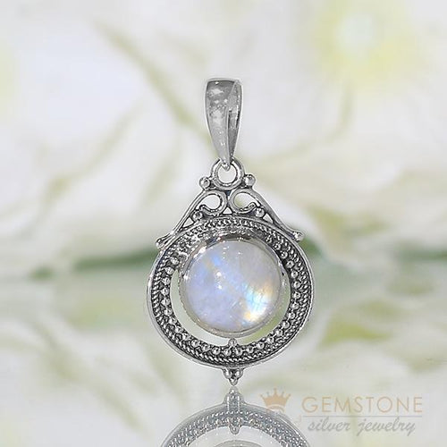 Moonstone Pendant-Royal Glamour - Gemstone Silver Jewelry