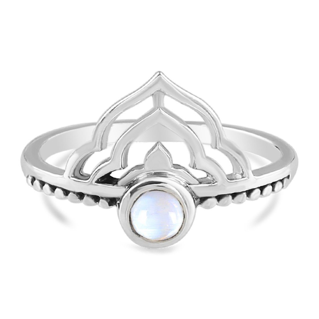 Moonstone Ring-Brilliant Crown Moonstone Ring 925 SILVER & MOONSTONE