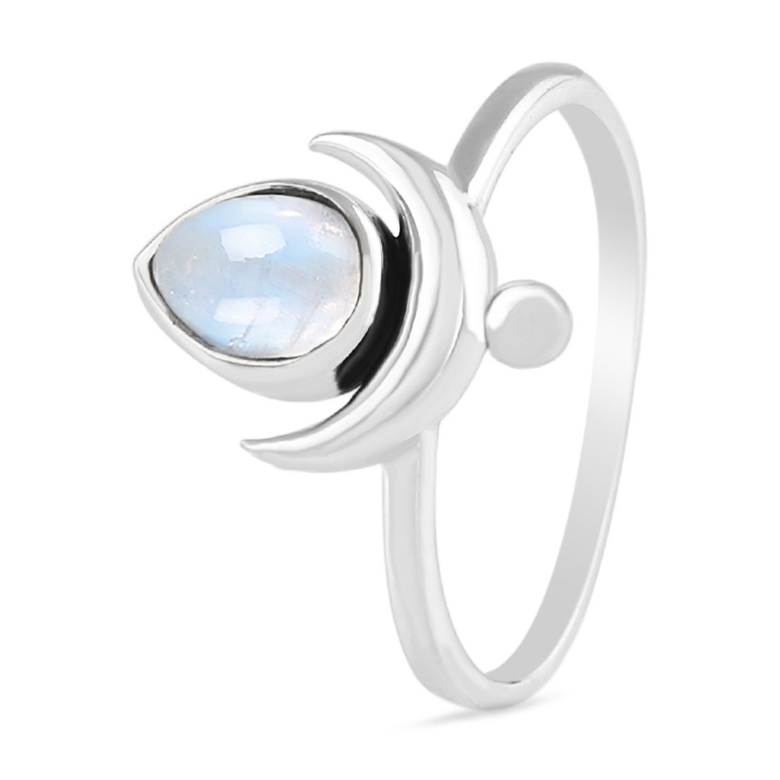 Moonstone Ring-Crescent Droplet Moonstone Ring 925 SILVER & MOONSTONE